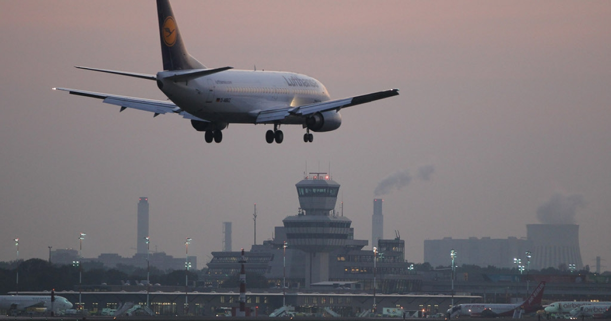 A Lufthansa passenger plane arrives at Tegel Airport on October 17, 2011 in Berlin, Germany.</p>