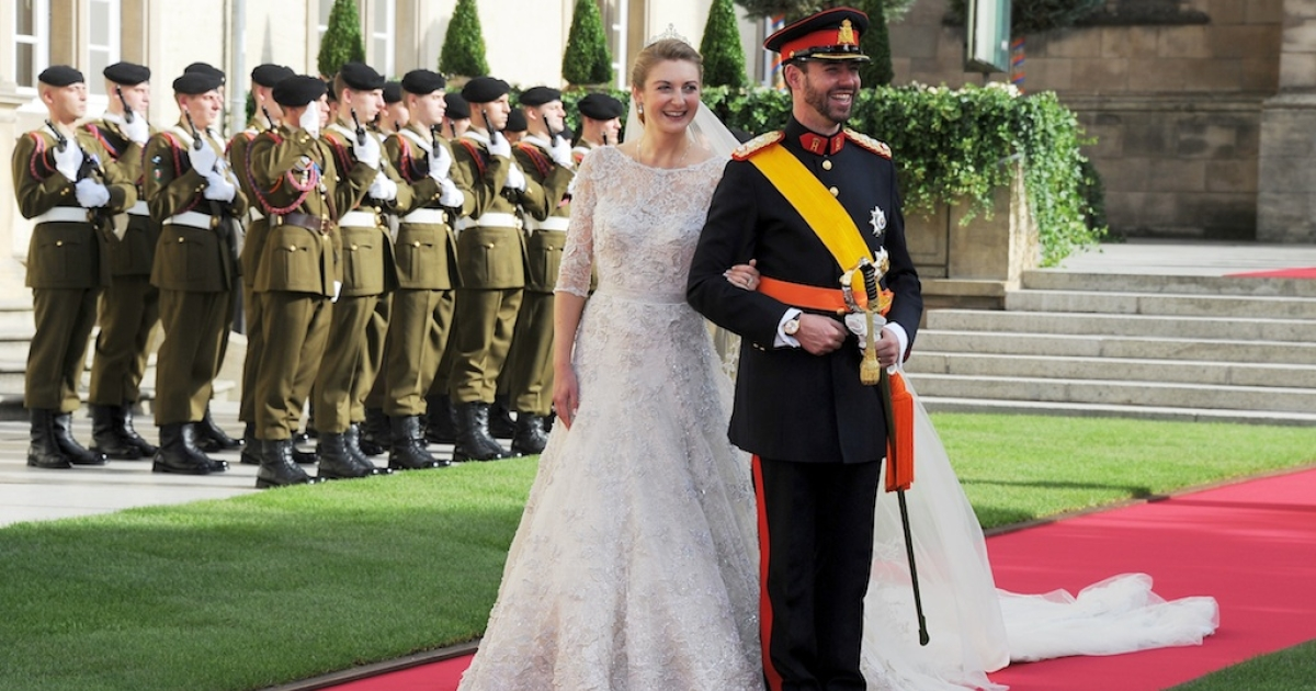 Princess Stephanie of Luxembourg and Prince Guillaume of Luxembourg emerge from the Cathedral following their wedding ceremony at the Cathedral of our Lady of Luxembourg on October 20, 2012 in Luxembourg, Luxembourg. The 30-year-old hereditary Grand Duke of Luxembourg is the last hereditary Prince in Europe to get married, marrying his 28-year old Belgian Countess bride in a lavish 2-day ceremony.</p>