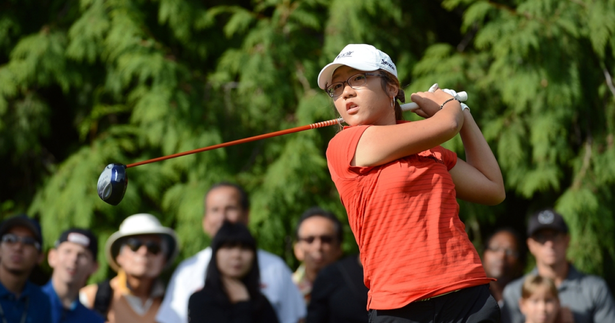 COQUITLAM, BC - AUGUST 26:  Amateur Lydia Ko of New Zealand hits a tee shot on the fifth hole on her way to a three shot victory during the final round of the Canadian Women's Open at The Vancouver Golf Club on August 26, 2012 in Coquitlam, Canada.</p>