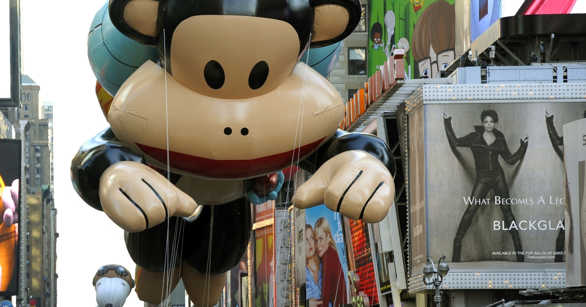 Paul Frank's jetpack monkey was one of this year's newest balloons at the annual Macy's Thanksgiving Day Parade.</p>