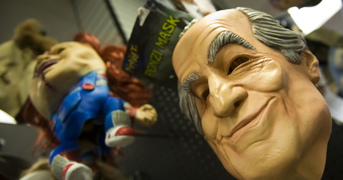 The Ponzi mask, a rubber mask of Bernie Madoff who pleaded guilty in March 2009 to a Ponzi scheme that lasted decades and cost investors tens of billions, hangs on the wall at a costume store in Queenstown, Maryland.</p>