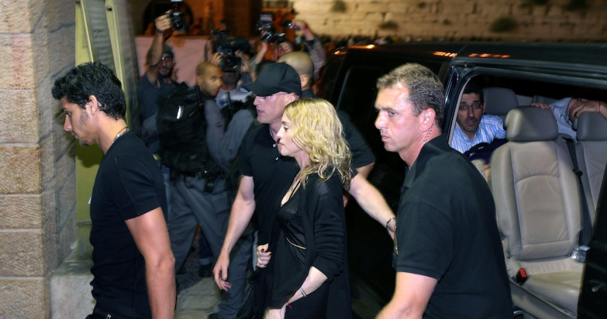 Madonna enters the Western Wall tunnel, part of Judaism's holiest site, on August 30, 2009 in Jerusalem's Old City.</p>