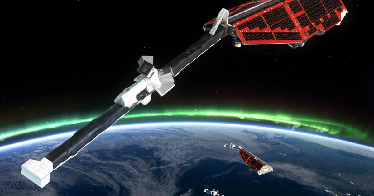 A rendering of the three satellites the European Space Agency will launch in November to study the Earth's magnetic field and find out why it is weakening so significantly.</p>