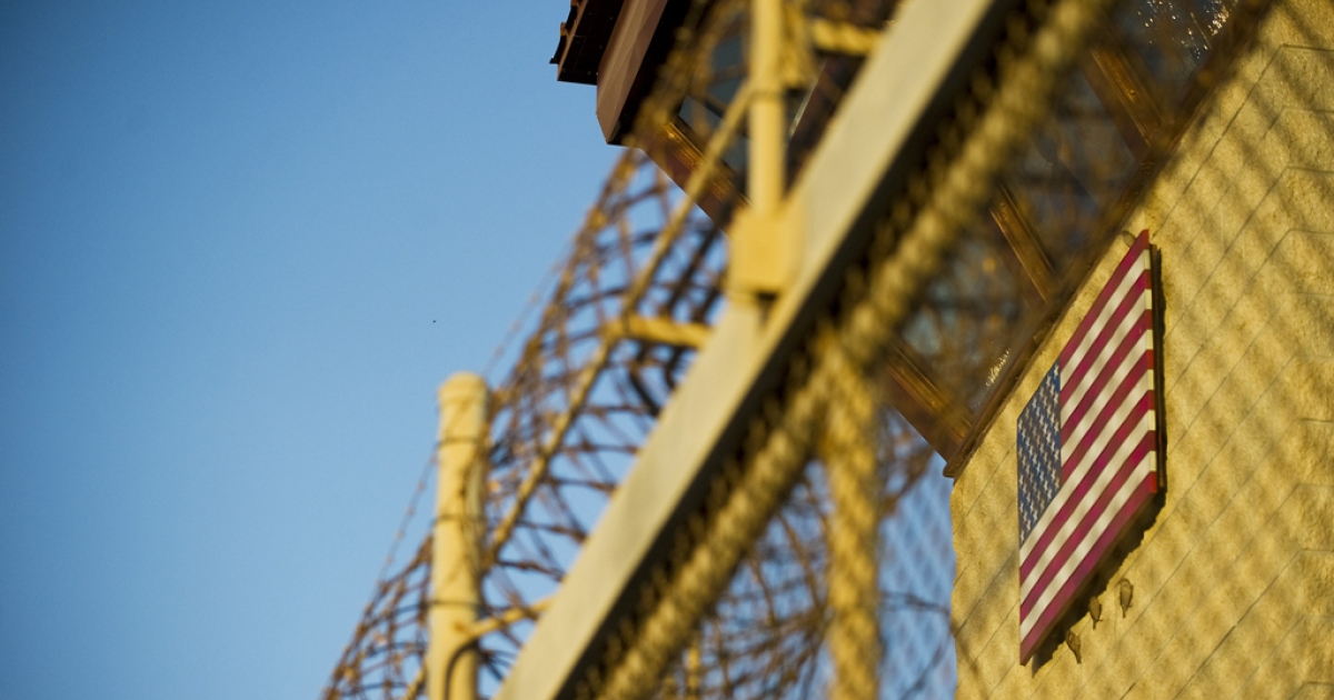 The guard tower at the front gate of the Joint Detention Group at the US Naval Station in Guantanamo Bay, Cuba, on Jan. 19, 2012.</p>