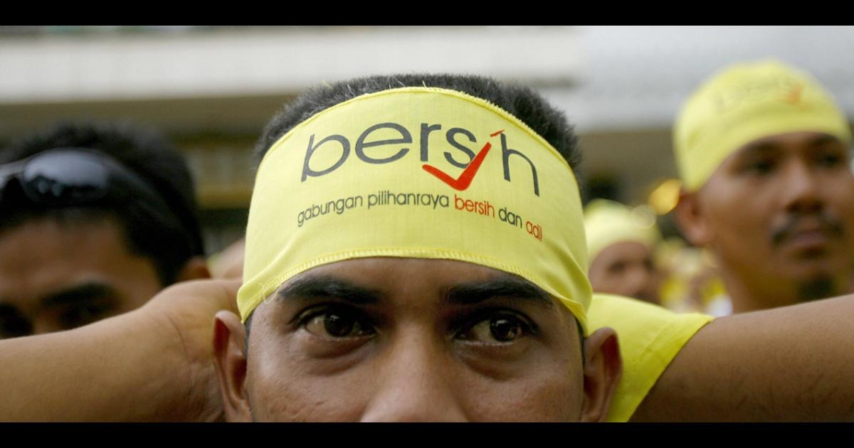 A Bersih demonstrator in Kuala Lumpur, Nov. 10, 2007.</p>