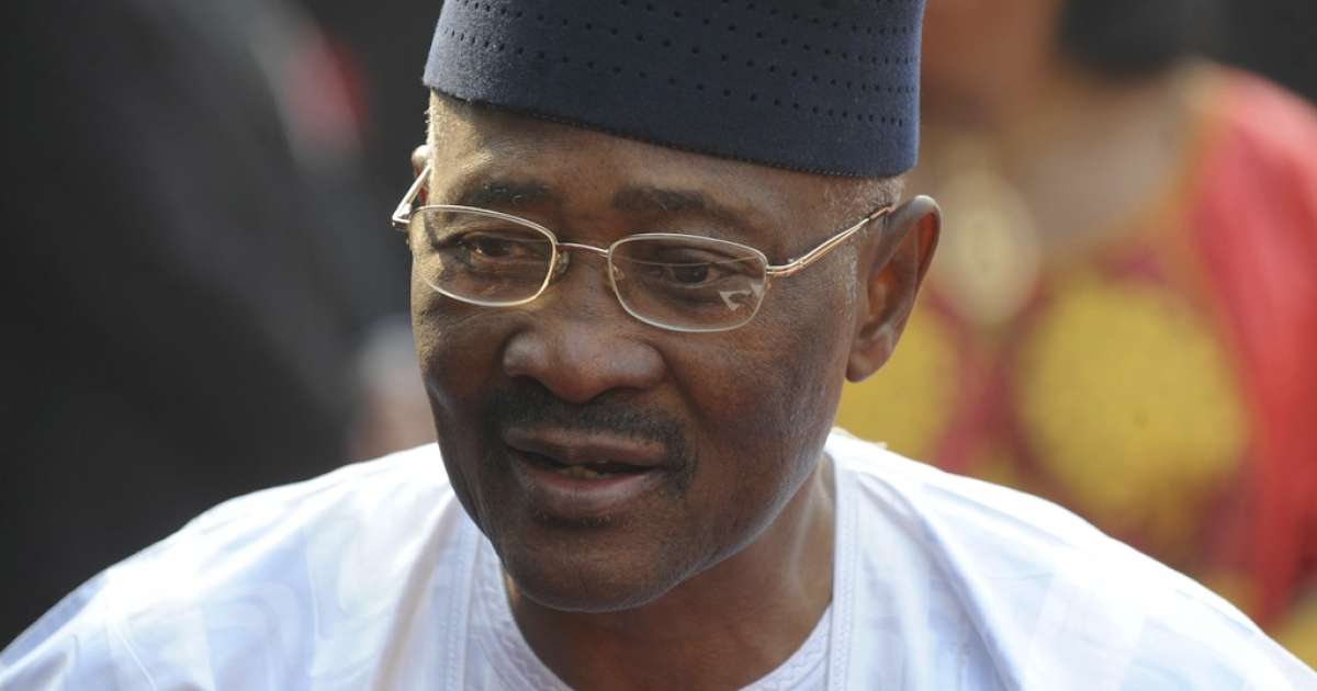 Mali's President Amadou Toumani Toure speaks to the press as he arrives in New Delhi, India, on January 11, 2012, for a state visit.</p>