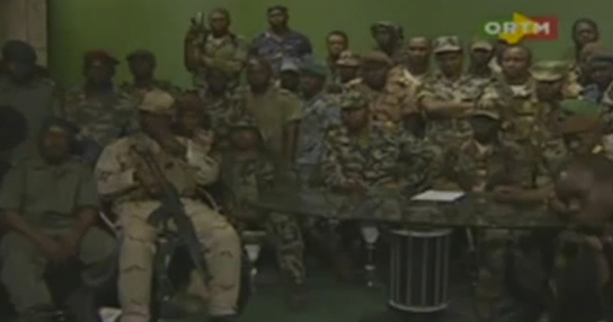 Rebel soldiers announce on Malian state TV that they have seized control of the country, suspending the constitution and dissolving institutions because of Mali's
