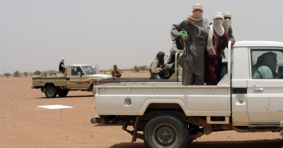 This photo taken on August 7, 2012, shows fighters from the Islamic group Ansar Dine in Kidal, northeast Mali. One of the group's top leaders has formed his own faction and called for a ceasefire between rebels and the Malian government.</p>