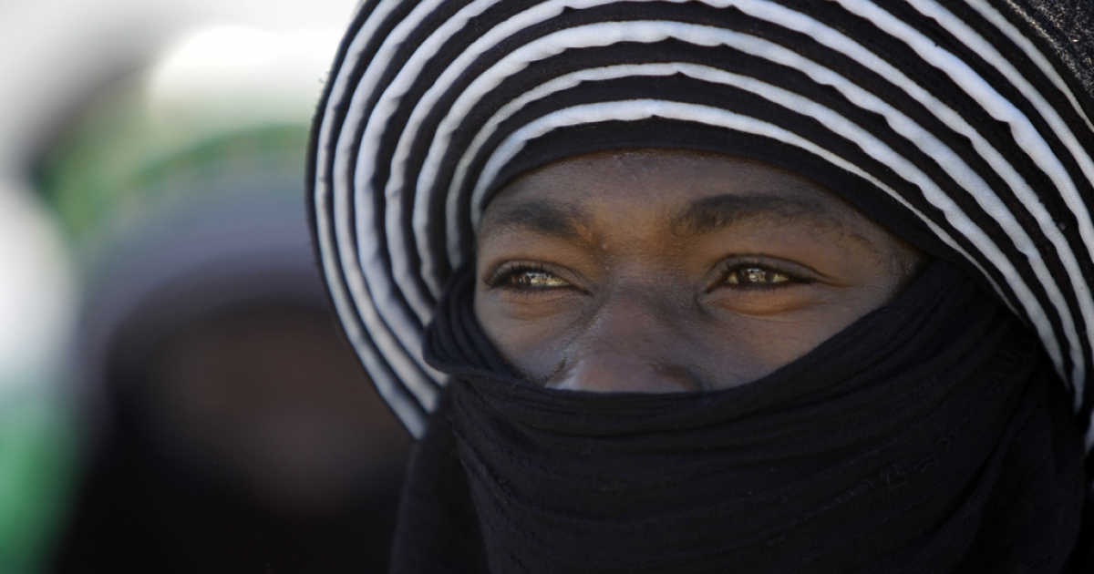 A Tuareg tribesman is photographed here during a welcome ceremony for the African Union delegation at the airport in Tripoli, Libya, on April 10, 2011.</p>