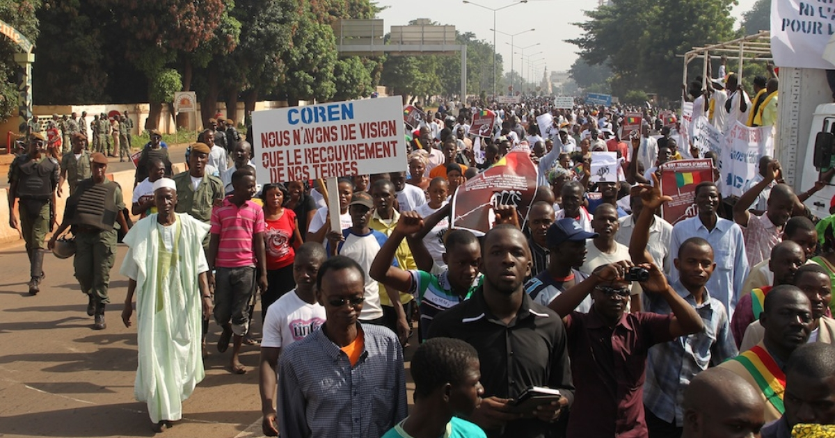 Several thousand people march on Oct. 11, 2012 in Mali's capital Bamako to call for armed intervention to help wrest back the vast north from armed Islamist groups.</p>