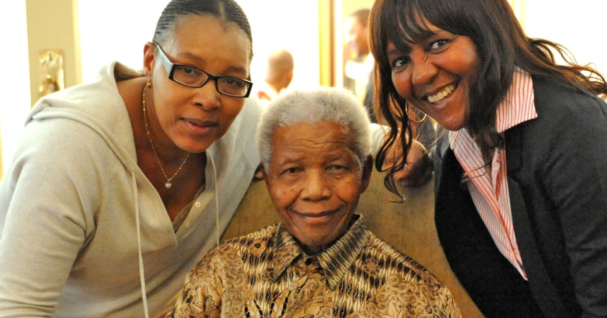 Former South African President Nelson Mandela Mandela after voting in local elections is flanked by his daughter Princess Zenani Dlamini, left, and granddaughter Ndileka Mandela at in Johannesburg, South Africa, Monday, May 16, 2011.</p>