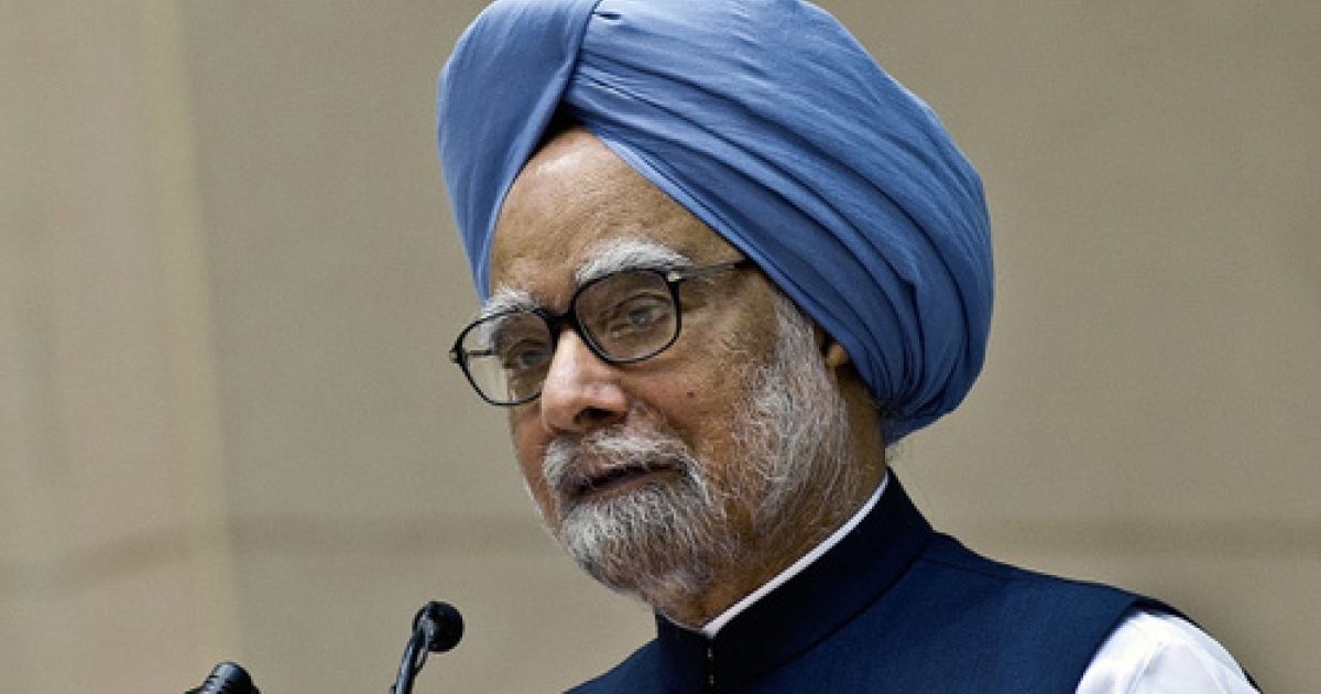 Indian Prime Minister Manmohan Singh presenting his United Progressive Alliance government's annual report card at a function in New Delhi on May 22, 2012.</p>