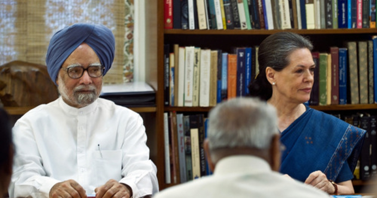 Indian Prime Minister Manmohan Singh (L) and Congress Party President Sonia Gandhi attend the Congress Working Committee (CWC) meeting in New Delhi on June 25, 2012.</p>