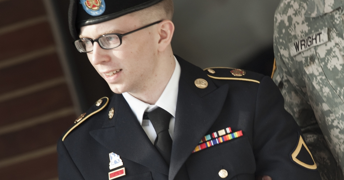 Private First Class Bradley Manning is escorted following a motions hearing in his trial at Fort Meade on March 15 in Maryland.</p>