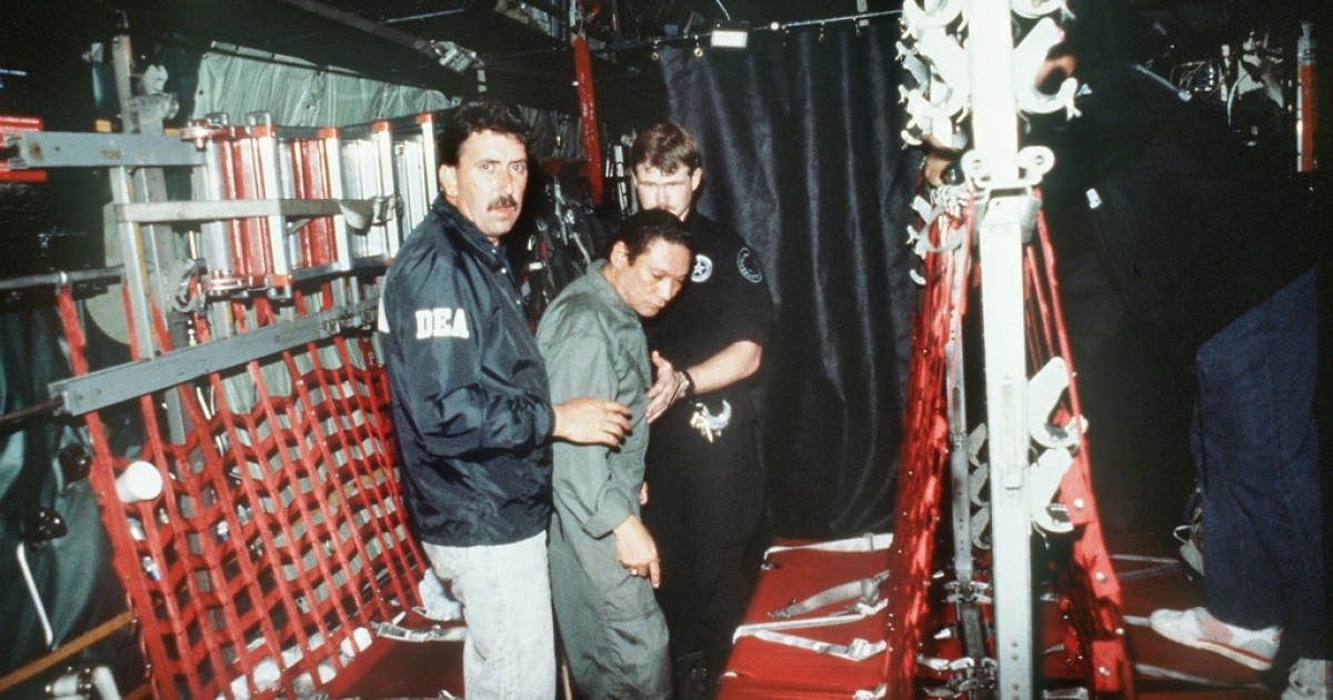 Manuel Noriega was arrested by invading US troops in January 1990, accused of turning Panama into a drug-trafficking hub.</p>