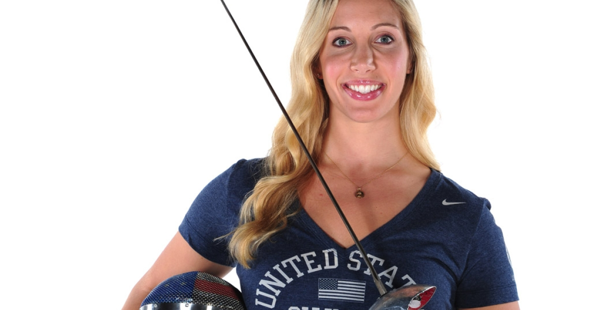 Fencer Mariel Zagunis poses during the USOC portrait shoot at Smashbox West Hollywood on November 16, 2011 in West Hollywood, California.</p>