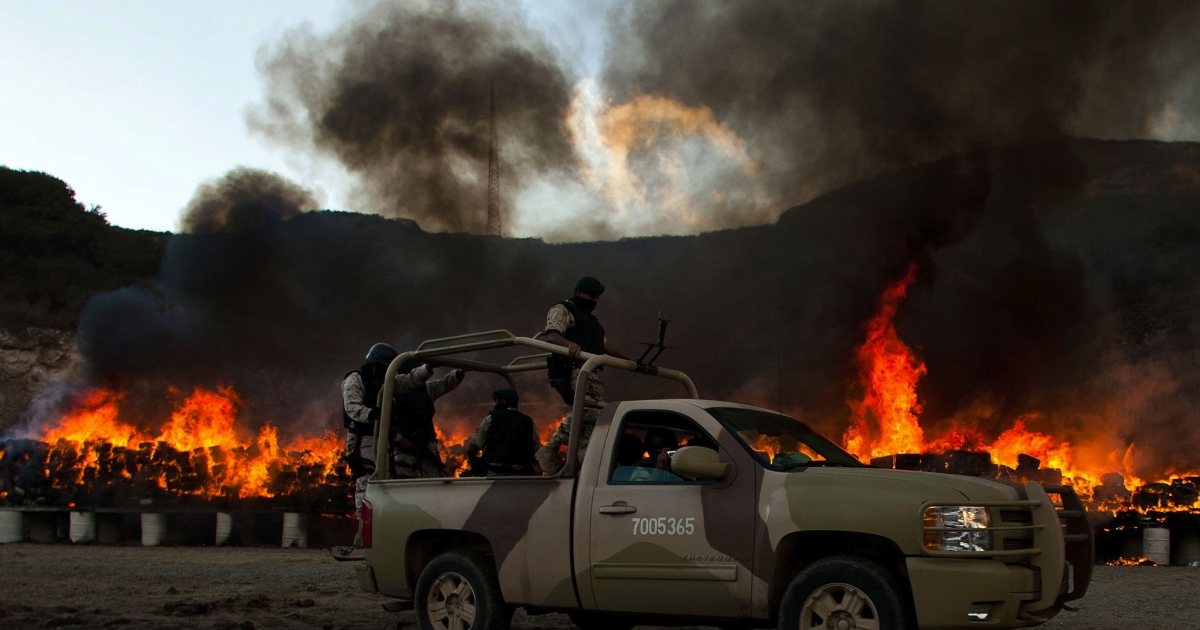 Mexican soldiers check the burning of 134 tonnes of marijuana on October 20, 2010 in the border town of Tijuana, Mexico, seized by the Mexican Army after a clash with drug traffickers. It was then one of the biggest confiscations in recent years.</p>