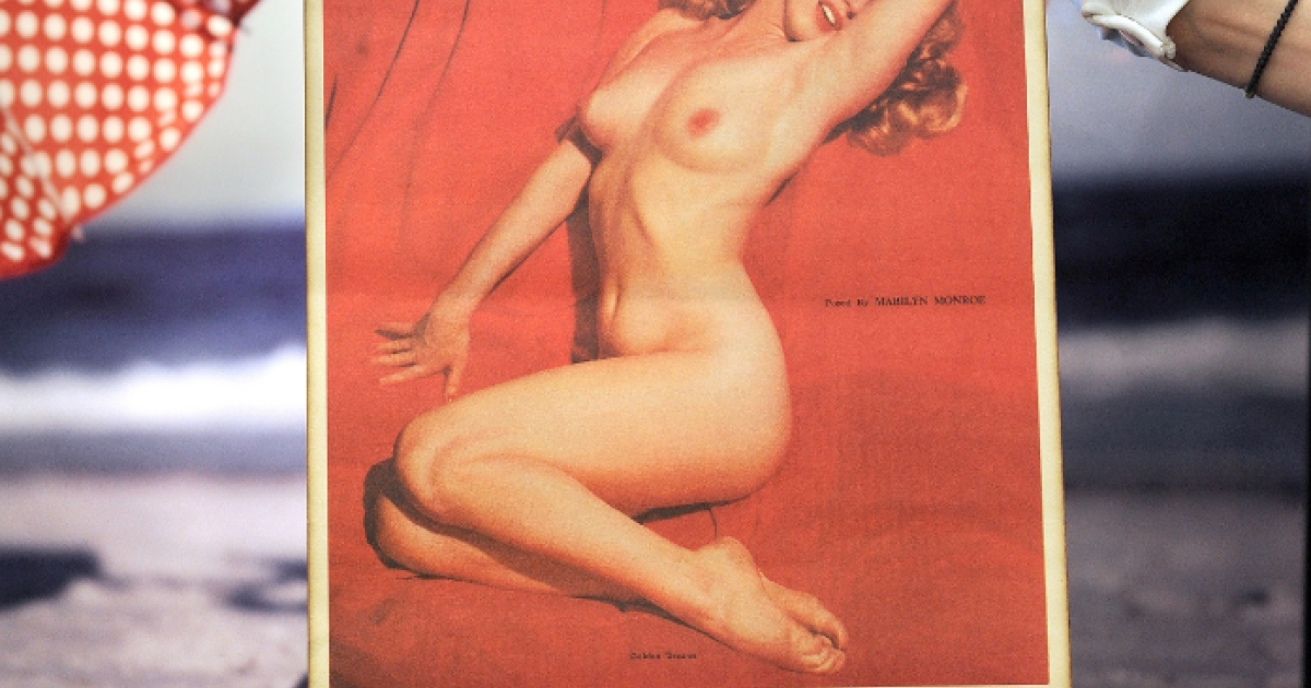 A 1955 calendar depicting the iconically voluptuous Marilyn Monroe. The actress would wear a US size 8-10 if she were alive today -- a far cry from today's size 0 or less models.</p>
