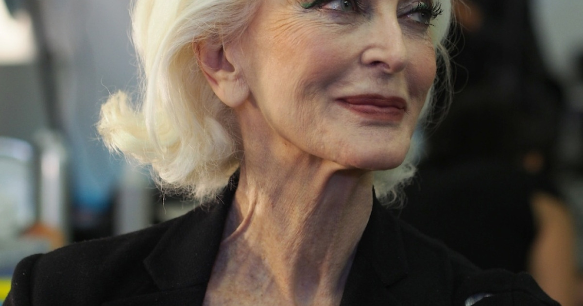 Legendary model Carmen Dell'Orefice, 81, awaits her turn at the make-up table backstage at the Marimekko spring-summer 2013 show during New York fashion week. Dell'Orefice, regarded by many as the original supermodel, walked the Norisol Ferrari and Marimekko shows back to back.</p>