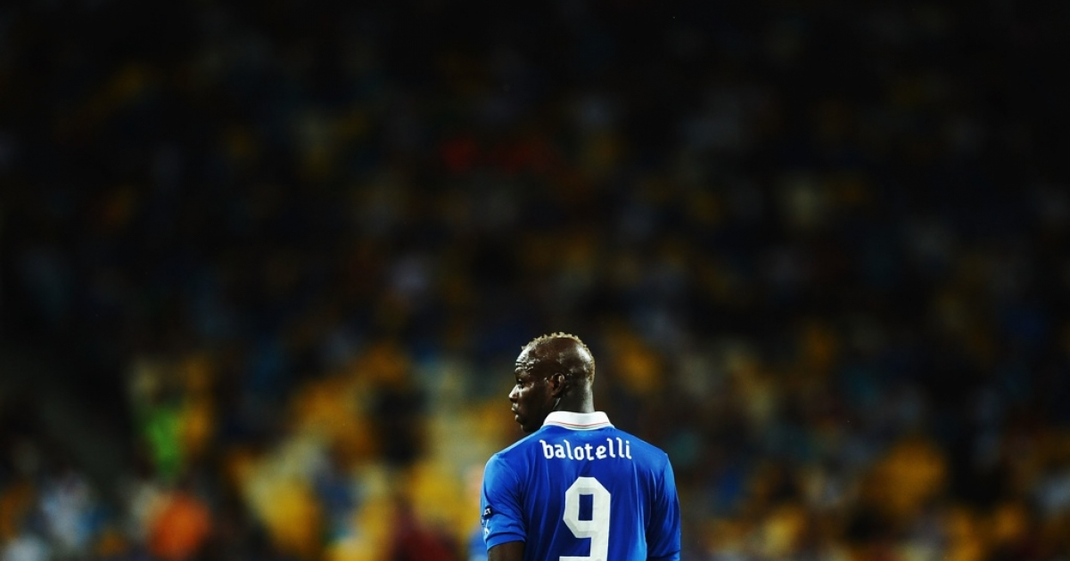 Mario Balotelli of Italy after the final match between Spain and Italy at the Olympic Stadium on July 1, 2012 in Kiev, Ukraine.</p>