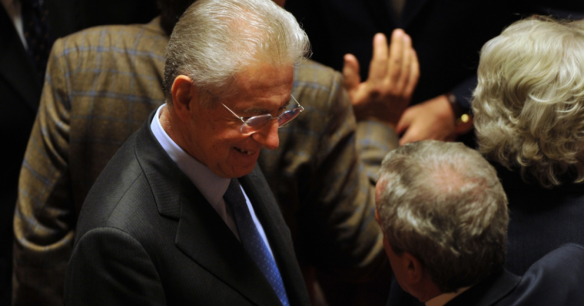 Mario Monti, probable replacement for Silvio Berlusconi as Italian Prime Minister, arrives for Friday's vote in the italian Senate on an austerity package.</p>