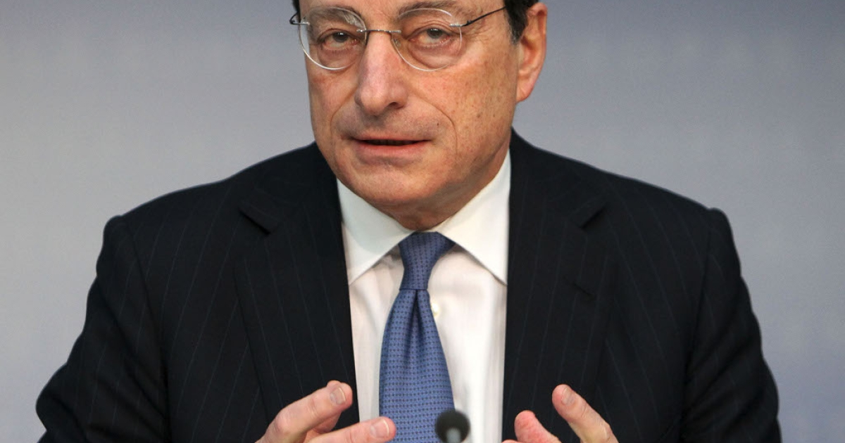 Mario Draghi at his monthly press conference today.  His words were like balm on troubled financial market waters</p>