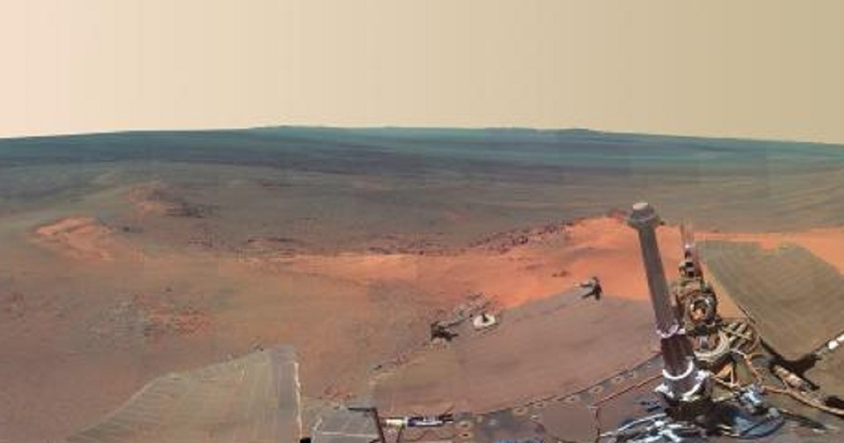 Part of the Mars panorama released by NASA that combines 817 images taken by the panoramic camera on the Mars Exploration Rover Opportunity.</p>