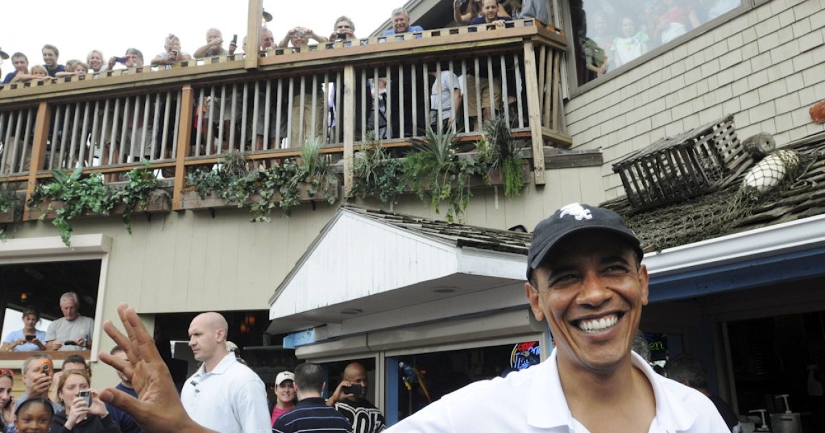 U.S. President Barack Obama goes to lunch at Nancy's Restaurant while vacationing on Martha's Vineyard with his family August 25, 2010 in Oak Bluffs, Massachusetts. Critics have attacked Obama for not canceling his 2011 summer vacation on Martha's Vineyard due to the economic crisis in the United States.</p>