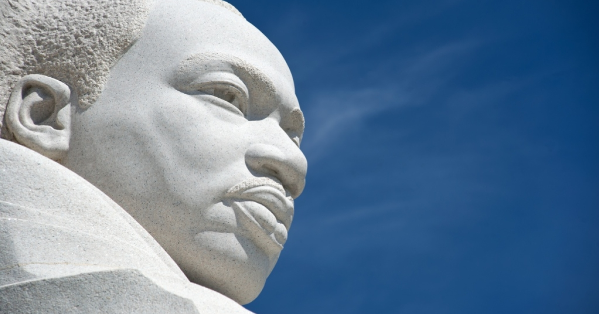 The statue of civil rights leader Martin Luther King, Jr. is seen at the MLK Memorial in Washington, DC.</p>