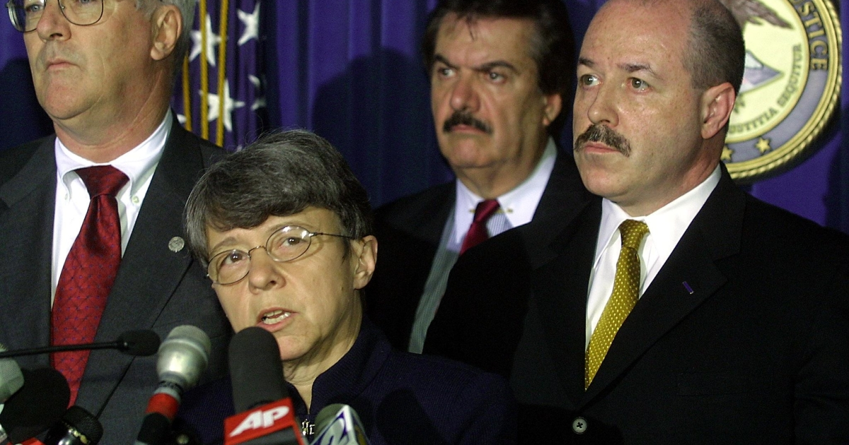 Mary Jo White in May 2001, speaking about the guilty verdicts in the trial of four Osama bin Laden followers who bombed two US embassies in East Africa. Then US Attorney for the Southern District of New York, White headed the prosecution team which found the four guilty on all 302 counts.</p>