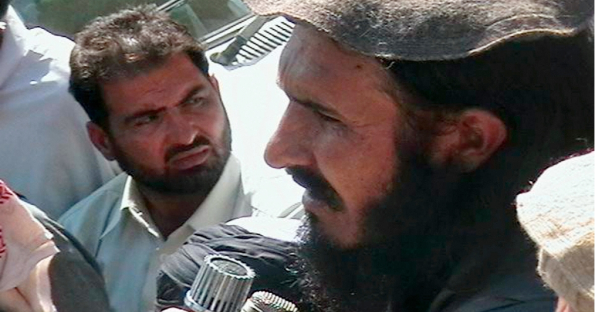 Maulvi Faqir Mohammad, who was on Sunday demoted from his position as deputy commander of the Pakistani Taliban, addressing a crowd in the country's Bajur tribal region in 2008.</p>