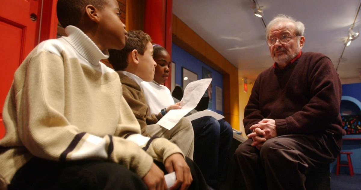 Maurice Sendak speaking with children on Jan. 11, 2002, before the opening of an exhibition entitled, 'Maurice Sendak In His Own Words and Pictures,' at the Children's Museum of Manhattan in New York.</p>
