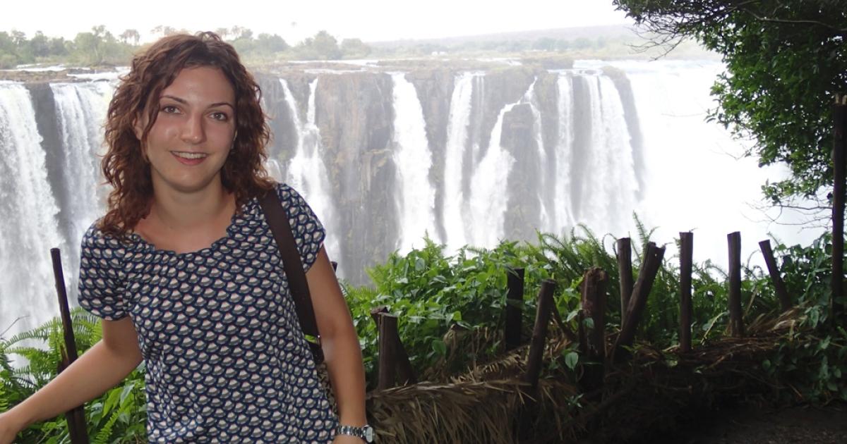 Maya Solntseva at Victoria Falls in southern Africa.</p>