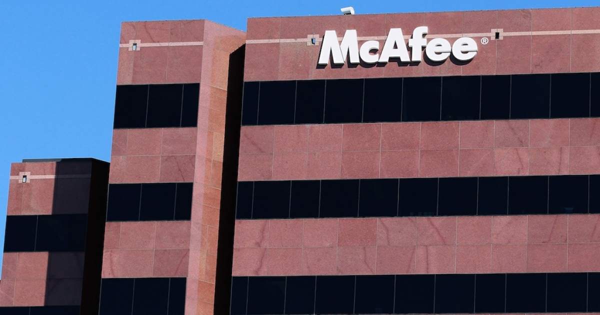 The McAfee logo is displayed outside of the company's headquarters August 19, 2010 in Santa Clara, California. The company's founder John McAfee is wanted for questioning in Belize over a fellow American's murder.</p>