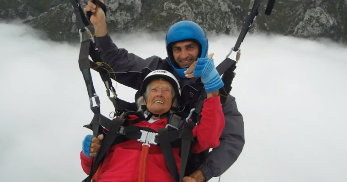 Peggy McAlpine paragliding on April 14, 2012.</p>