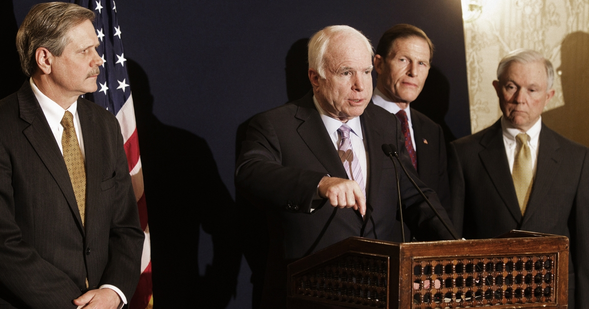 Sen. John McCain gestures while addressing a press conference in Cairo on February 20, 2012 together with Sen. John Hoeven, Sen. Richard Blumenthal and Sen. Jeff Sessions.</p>