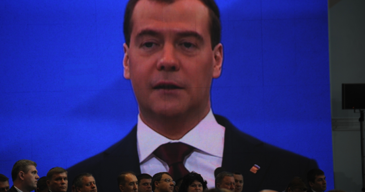 Russian Prime Minister Dmitry Medvedev's speech is broadcast on a video screen during a United Russia congress in Moscow, May 26, 2012. United Russia confirmed Medvedev as its new chief in a bid to reverse flagging popularity that stoked opposition protests against the Kremlin.</p>