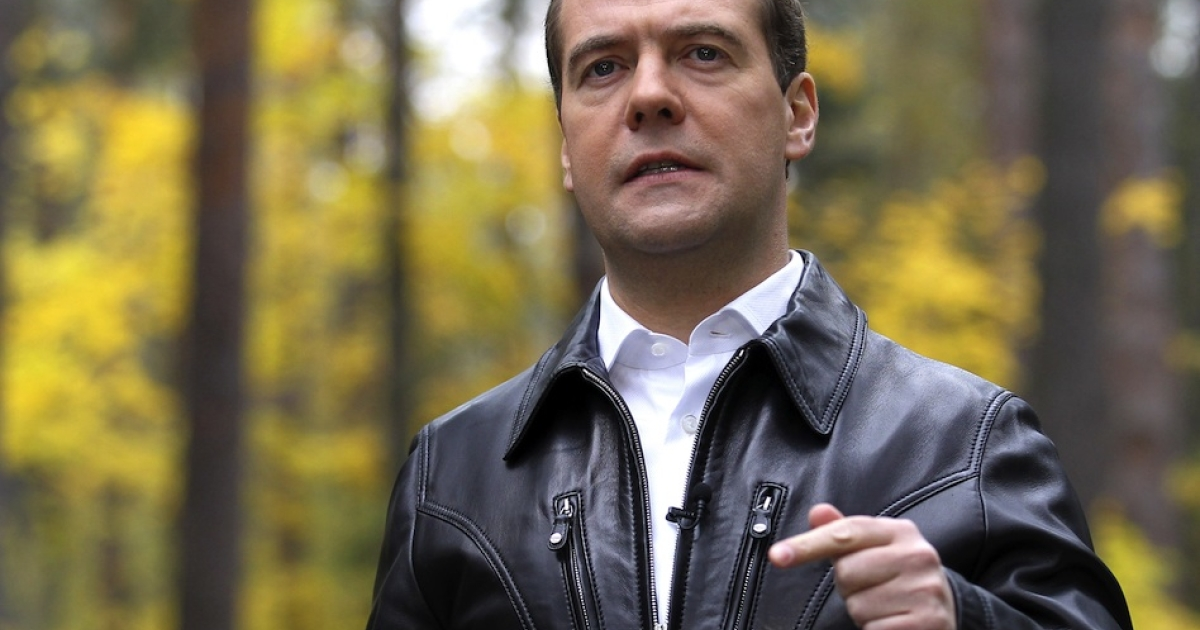 A picture taken on October 12, 2012, shows Russia's Prime Minister Dmitry Medvedev recording a message on his video blog somewhere in an undisclosed location in Moscow region. Russia plans to adopt a sweeping anti-smoking bill this month in a bid to halve the number of smokers in the country, Medvedev made the announcement on his video blog, which was released today.</p>