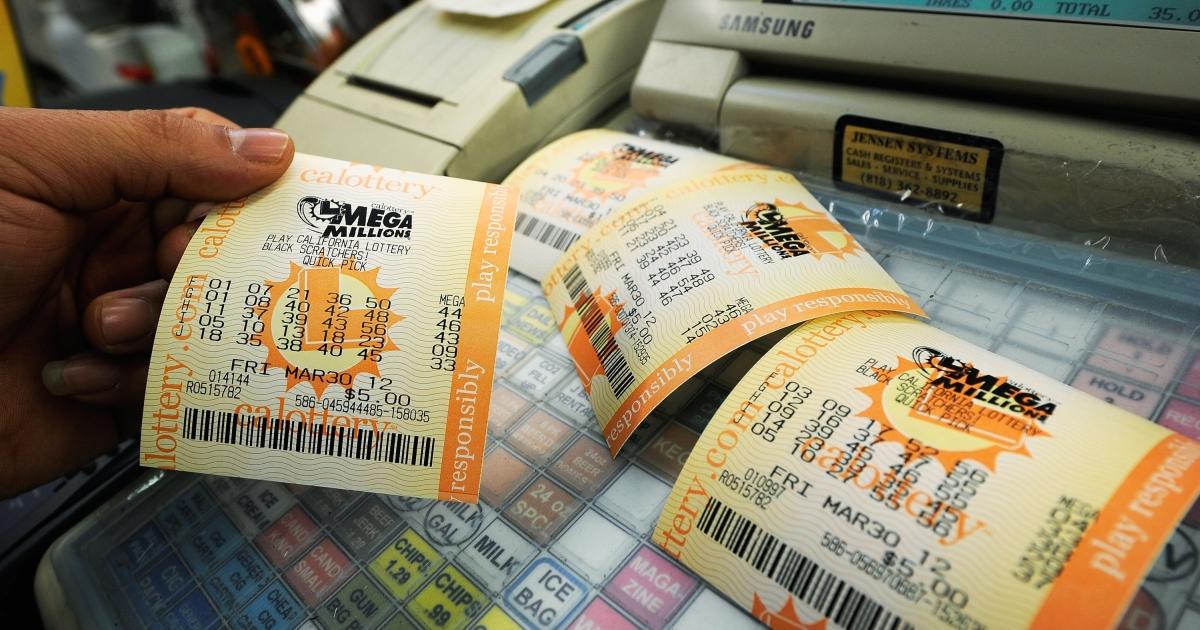 Mega Millions lottery tickets at Liquorland in Covina, Calif., on Mar. 30, 2012.</p>