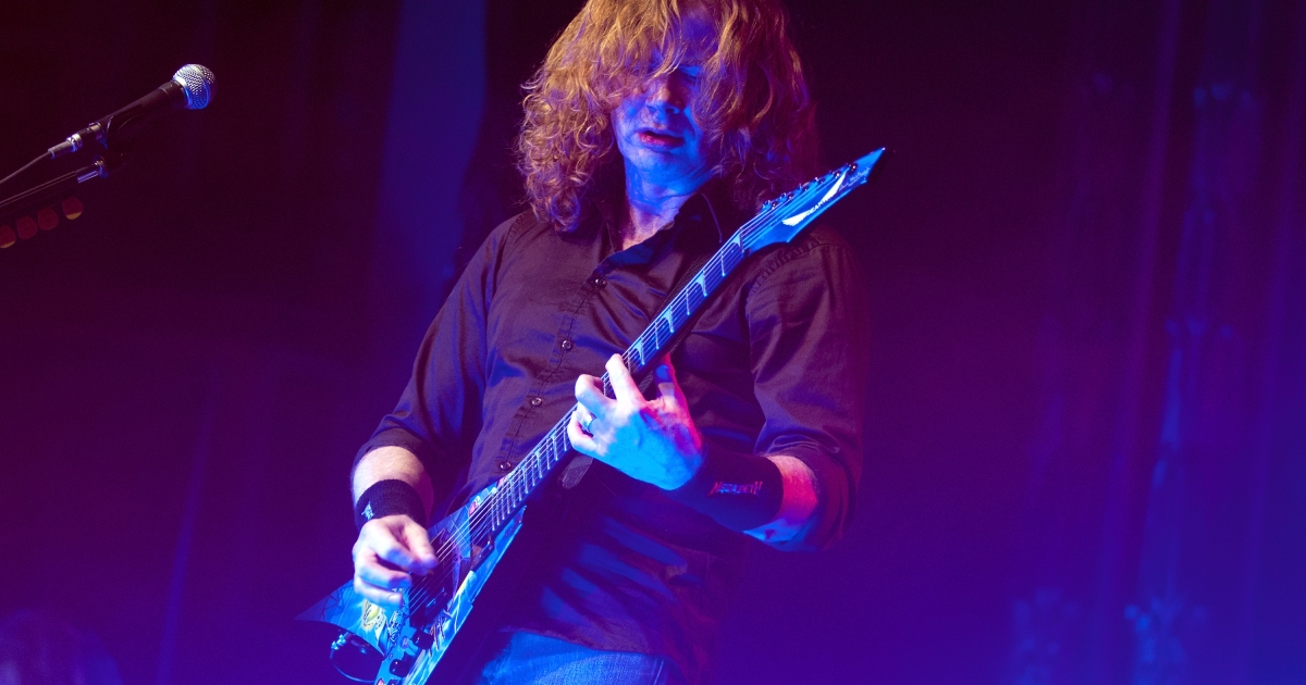 Dave Mustaine of Megadeth performs at the Aragon Ballroom on Friday in Chicago.</p>