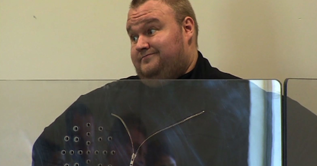 This video grab taken from pool video footage shows Megaupload founder Kim Dotcom appearing at the North Shore court in Auckland on Jan 25.</p>