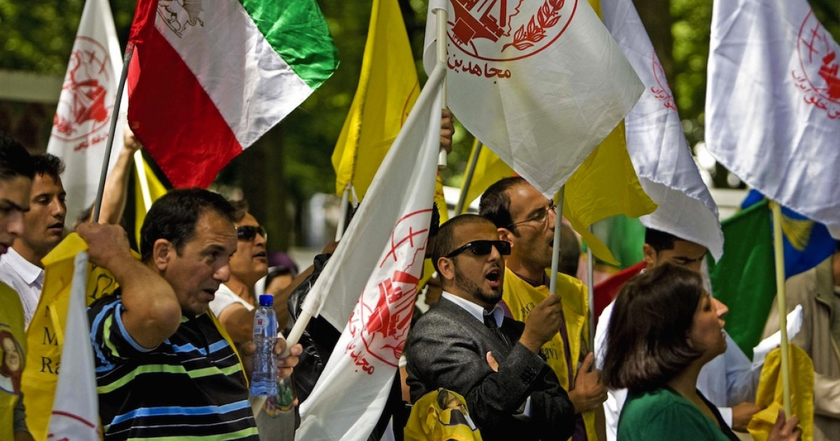 A group of Iranians demonstrate in front of the US Embassy in The Hague, Netherlands, on August 04, 2009. They protest against the attack of Camp Ashraf in the Diyala province, north of Baghdad. The base is home to around 3,500 MKO (Mujahedin-e-Khalq Organization) members and their families.</p>