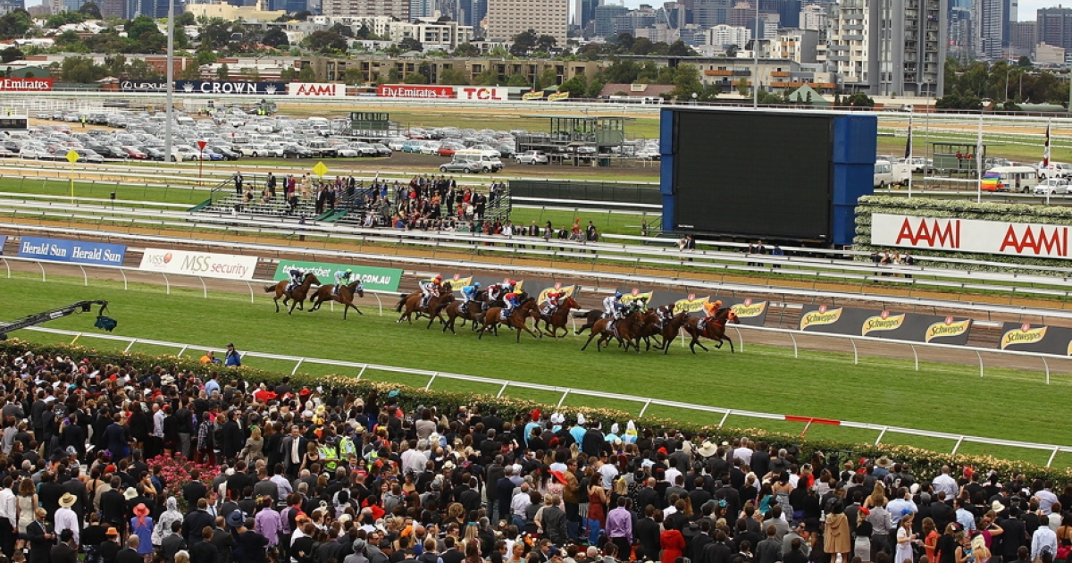 The field races in Race 3 The Lavazza Long Black during Melbourne Cup Day at Flemington Racecourse on November 1, 2011 in Melbourne, Australia.</p>