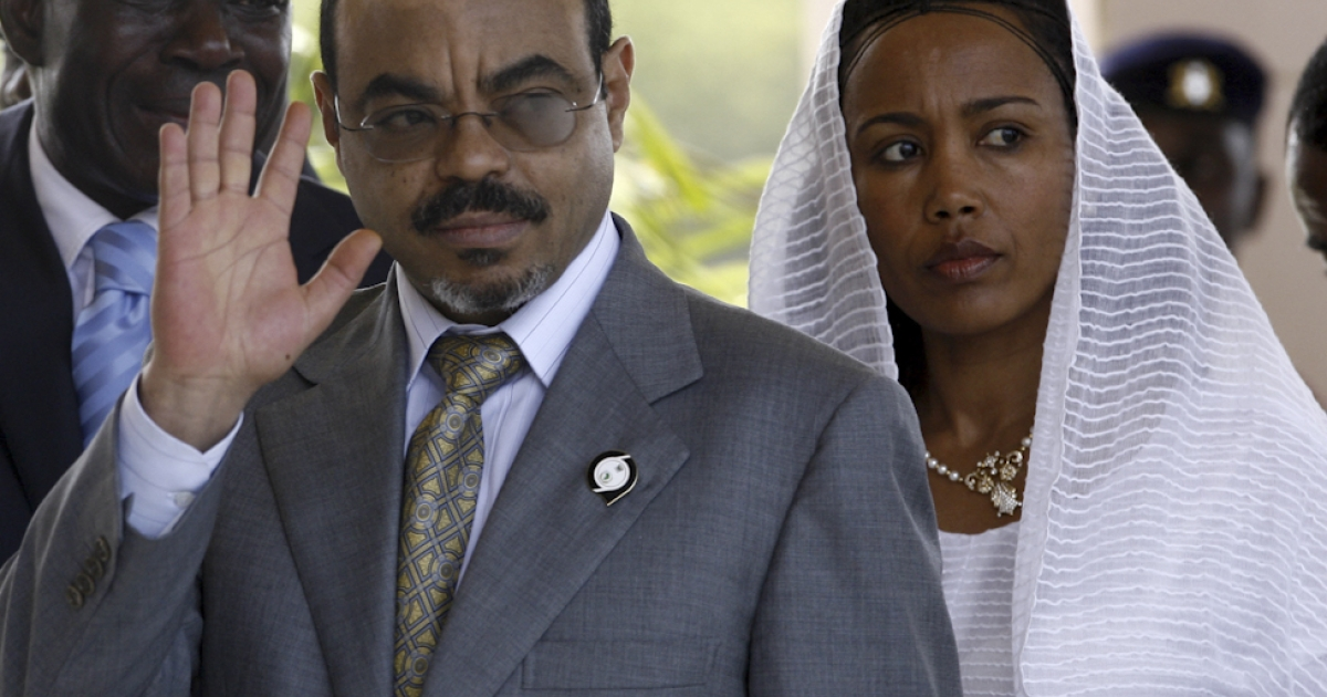 A picture taken July 1, 2007 shows Ethiopian prime minister Meles Zenawi and his wife arriving at the international conference center in Accra before the opening of the African Union summit. Meles Zenawi has died in hospital abroad, a spokesman for Ethiopia's government said on August 21, 2012.