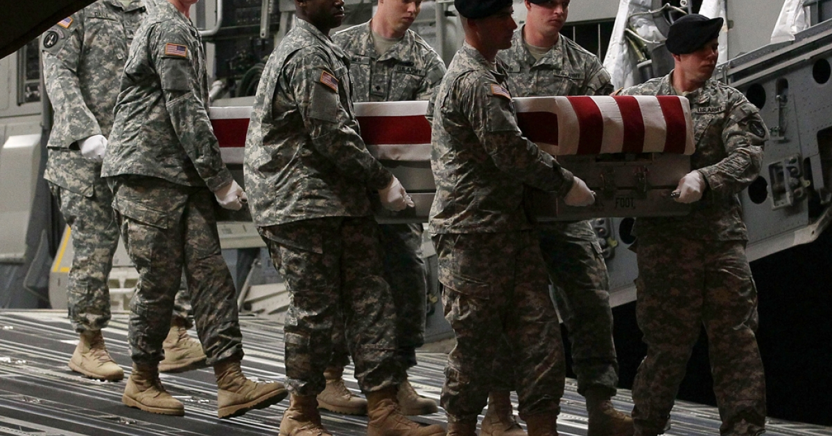 A US Army carry team moves the transfer case of U.S. Army Sgt. Nicholas M. Dickhut during a dignified transfer at Dover Air Force Base, on May 2, 2012 in Dover, Delaware. Sgt. Dickhut, who was from Rochester, Minnesota, was killed during a firefight in southern Afghanistan's Kandahar province.</p>