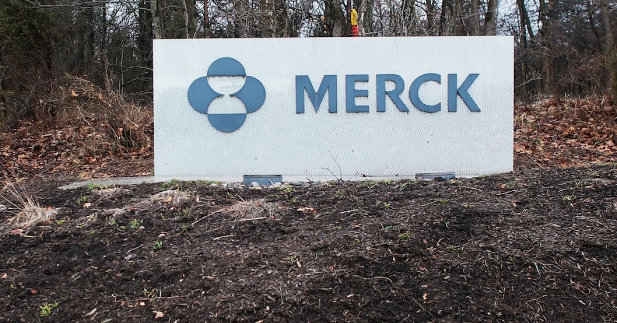 A sign for the drug maker Merck stands outside the headquarters March 9, 2009 in Whitehouse Station, New Jersey.</p>