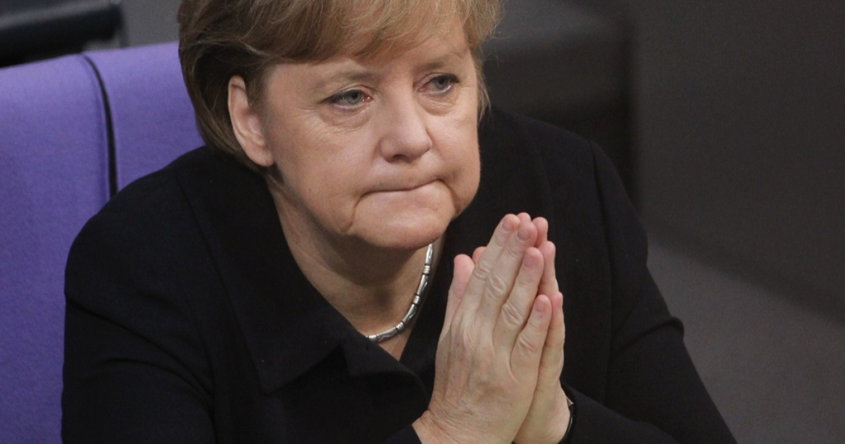 Angela Merkel,German Chancellor, attends debates at the Bundestag after giving a government declaration on the Euro and the current Eurozone debt crisis on December 2, 2011 in Berlin, Germany.</p>