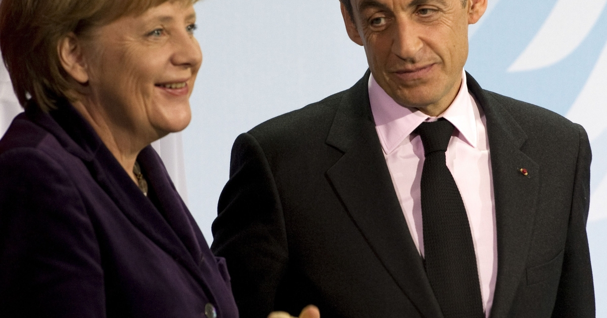 Germany Chancellor Angela Merkel and French President Nicolas Sarkozy were speaking at a joint news conference in Berlin after meeting to discuss ways of boosting eurozone states' growth.</p>