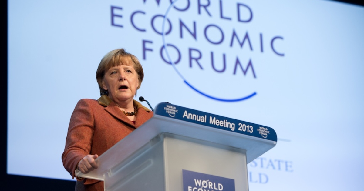 German Chancellor Angela Merkel addresses a session of the annual World Economic Forum (WEF) meeting in the Swiss resort of Davos. The WEF will see top politicians and business leaders pursue talks on whether they have seen the back of the global financial crisis. Meanwhile, the situation in Greece gets further out of hand.</p>