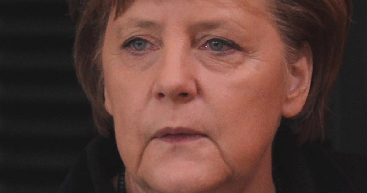 German Chancellor Angela Merkel before today's weekly cabinet meeting in Berlin</p>
